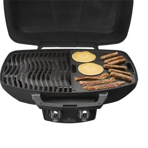 Travel Q flat grill in use